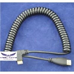 ÁTALAKÍTÓ -ADAPTER - Mini HDMI - HDMI összekötő kábel rugós-spirál kábel