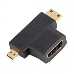 ÁTALAKÍTÓ - ADAPTER - 2 in 1 HDMI Female  Mini és Micro HDMI Male V1.4 90fokos elfordulással