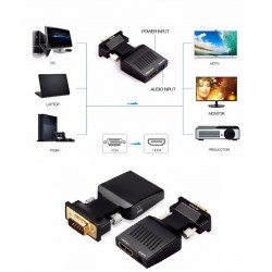ÁTALAKÍTÓ - ADAPTER - VGA-HDMI átalakító Audio Full HD VGA-HDMI adapterrel