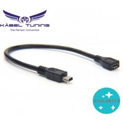 ÁTALAKÍTÓ - ADAPTER - USB 2.0 Mini 5-pólusú férfi/USB Mikro női adapterkábel