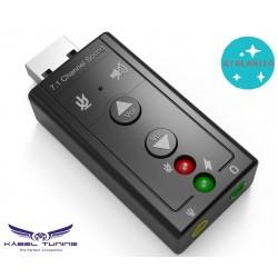 ÁTALAKÍTÓ - ADAPTER -  USB 2.0, 7.1-csatornás 3D audio Mini Adapter, 3.5 mm-es fülhallgató-MIC interfész csatlakozással